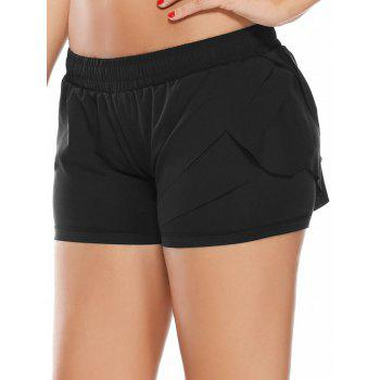 Elastic Waist Layered Sports Running Shorts