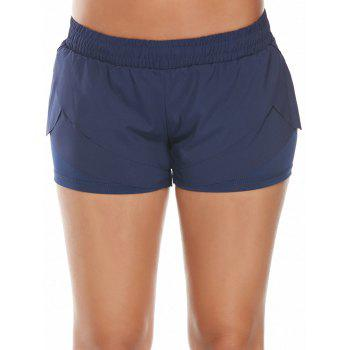 Elastic Waist Layered Sports Running Shorts - L L