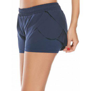 Elastic Waist Layered Sports Running Shorts - DEEP BLUE L