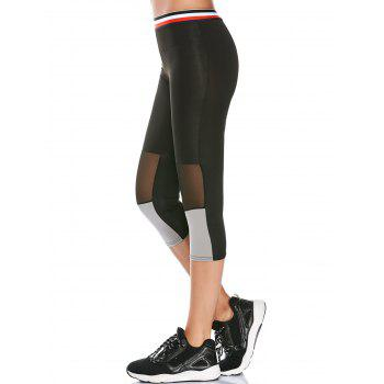Striped Trim Mesh Panel Capri Workout Leggings