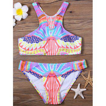Colorful Tribal Printed Padded  Racerback Bikini Swimsuit