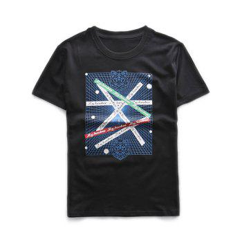 Short Sleeves 3D Grids Graphic Printed T-Shirt
