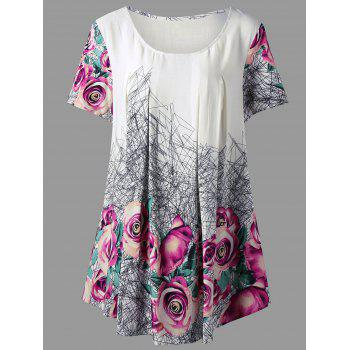 Plus Size 3D  Printed Rose Tunic Top