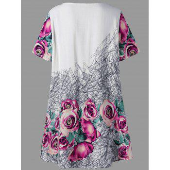 Top Tunique à imprimé 3D grand format - Floral 4XL