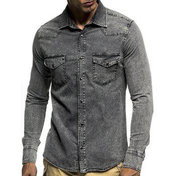 Long Sleeves Snap Button Pocket Denim Shirt