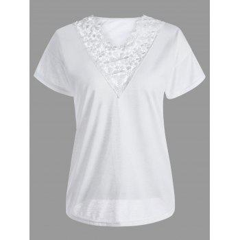 Casual Lace Insert T-Shirt