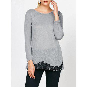 Lace Hem Long Sleeve T-Shirt