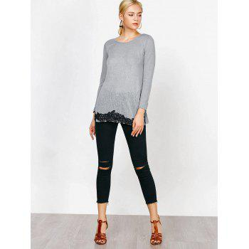 Lace Hem Long Sleeve T-Shirt - GRAY XL