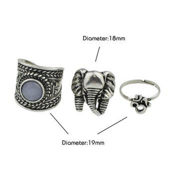 Gypsy Alloy Engraved Elephant Ring Set -  SILVER