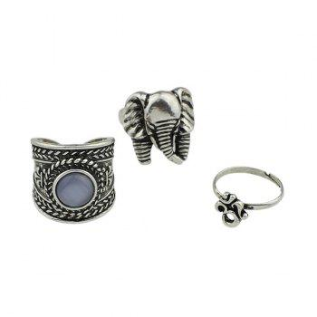 Gypsy Alloy Engraved Elephant Ring Set - SILVER SILVER
