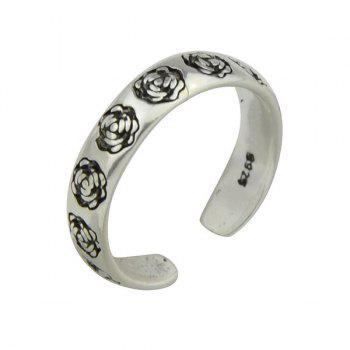Engraved Rose Flower Cuff Ring
