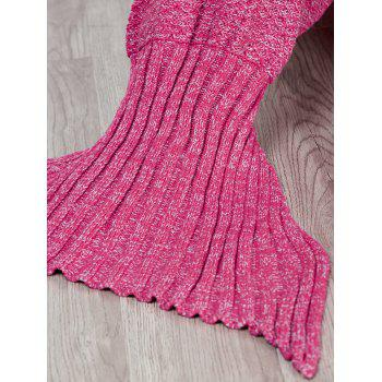 Chic Quality Comfortable Solid Color Handmade Wool Knitted Mermaid Design Throw Blanket - ROSE ROSE