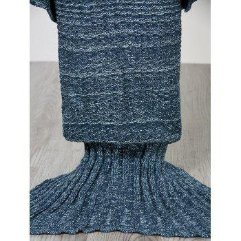 Chic Quality Comfortable Solid Color Handmade Wool Knitted Mermaid Design Throw Blanket - BLUE BLUE