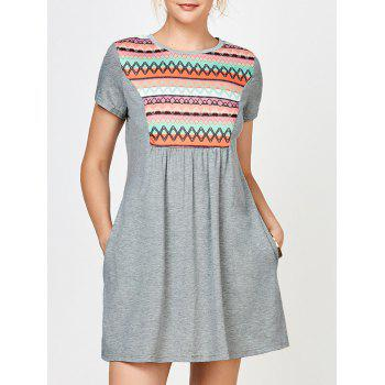 Geometric Print Mini Dress with Pocket