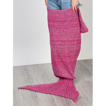 Chic Quality Comfortable Solid Color Handmade Wool Knitted Mermaid Design Throw Blanket - M M