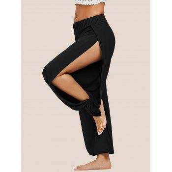 High Slit Elastic Waist Harem Pants