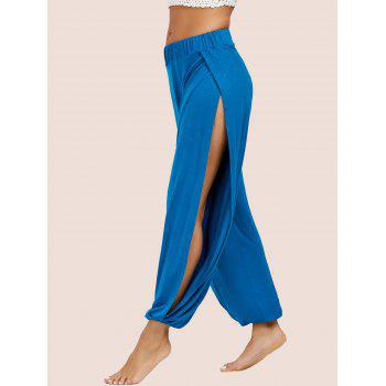 High Slit Elastic Waist Harem Pants - S S