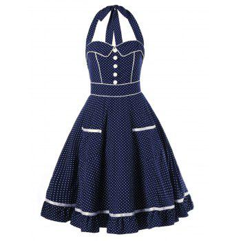 High Waist Polka Dot Halter Pin Up Dress