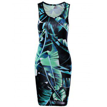 Tropical Leaf Printed Mini  Sheath Tank Dress