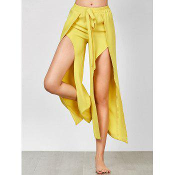 Self Tie High Slit Wide Leg Pants