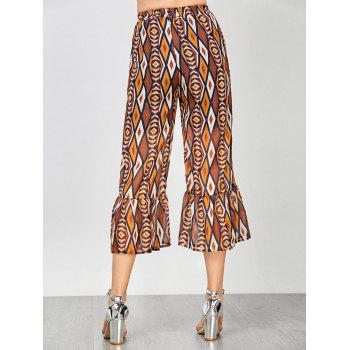Geometric Print Flounce High Waisted Pants - COLORMIX XL