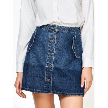 Buttons Mini Ombre Denim Skirts with Pockets
