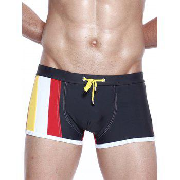 Color Block Panel Stretchy Drawstring Swimming Trunks