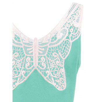 Plus Size Lace Panel Skater Dress - MINT XL
