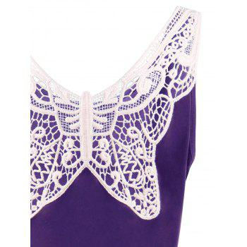 Plus Size Lace Panel Skater Dress - PURPLE XL