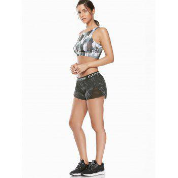Letter Printed Gym Shorts With Fishnet Mesh - BLACK BLACK