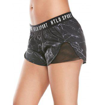 Letter Printed Gym Shorts With Fishnet Mesh - BLACK L