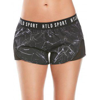 Letter Printed Gym Shorts With Fishnet Mesh - L L
