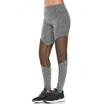 High Rise Sheer Mesh Panel Fitness Leggings
