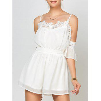 Lace Panel Cold Shoulder Romper