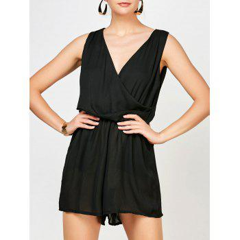 Surplice Ruched Summer Romper with Pockets