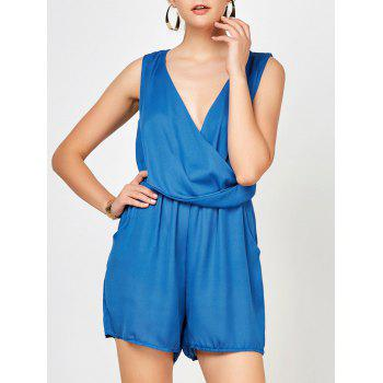 Surplice Ruched Romper with Pockets