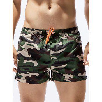 Camouflage Print Drawstring Hawaiian Drawstring Board Shorts