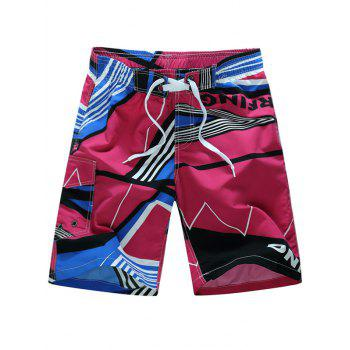 Drawstring Stripe Geometric Color Block Print Board Shorts