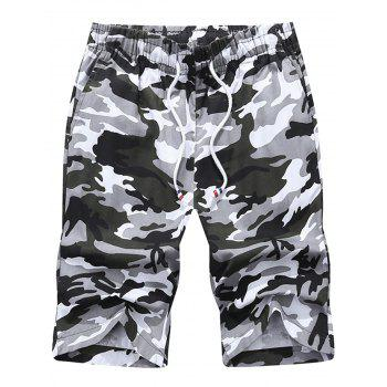 Casual Drawstring Camouflage Shorts