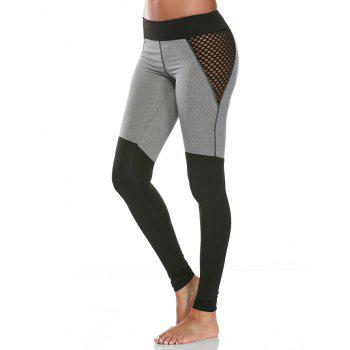 High Waist Fishnet Mesh Panel Gym Leggings