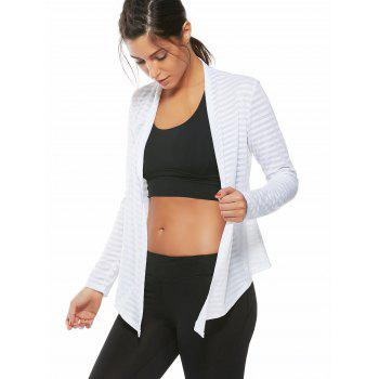 Quick Dry Collarless Front Wrap Top - Blanc L