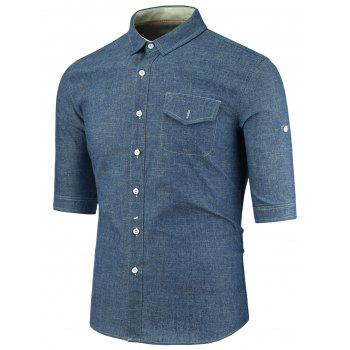 Turndown Collar Half Sleeve Pocket Denim Shirt