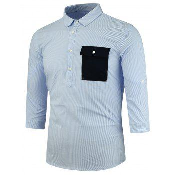 Three Quarter Sleeve Half Button Vertical Stripe Shirt