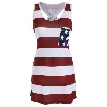 Stars and Stripes Racerback Tank Dress - DEEP RED DEEP RED