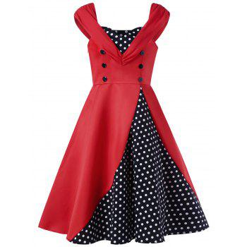 Sweetheart Neck Polka Dot Buttoned Vintage Dress