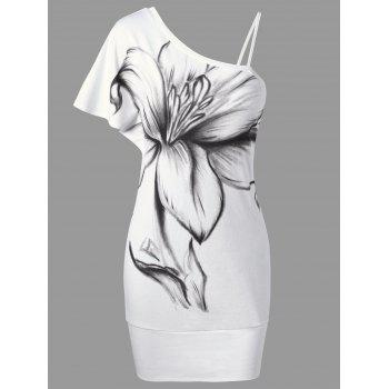 One-Shoulder Floral Short Bodycon Dress