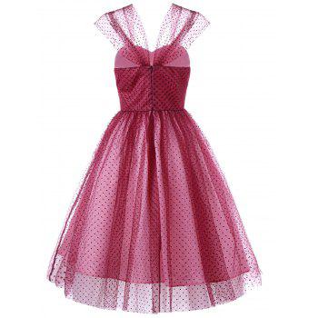 Polka Dot Bandeau Tulle Cocktail Dress - ROSE MADDER M