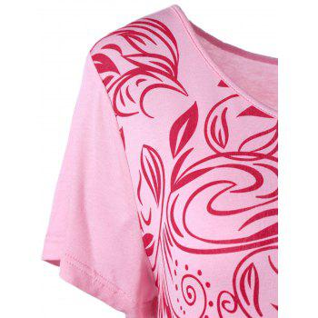 Plus Size Bandana Floral High Low Hem T-Shirt - PINK XL