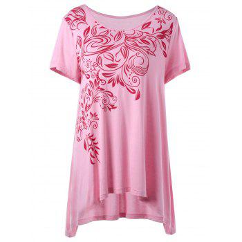 Plus Size Bandana Floral High Low Hem T-Shirt