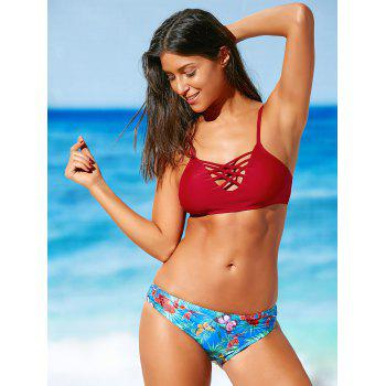 Tropical Print Criss-Cross Bikini